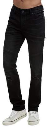 True Religion Men's Rocco Moto Coal Mine Jeans
