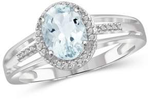 JewelersClub 1.15 Carat T.G.W. Aquamarine Gemstone and White Diamond Accent Ring