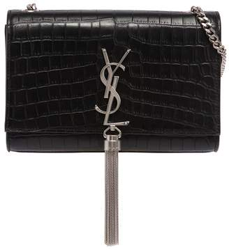 Saint Laurent Small Kate Monogram Croc Embossed Bag
