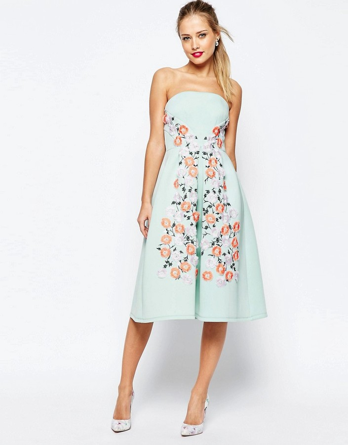 Asos ASOS SALON Floral Embroidered Bandeau Midi Prom Dress