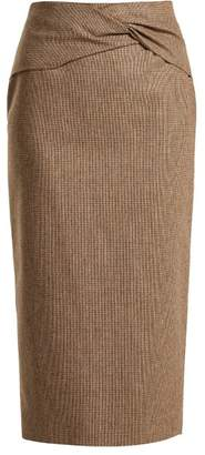 Rochas Knotted High Rise Wool Blend Pencil Skirt - Womens - Brown Multi