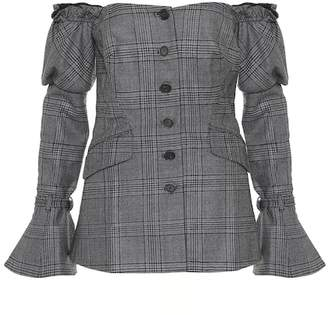Jonathan Simkhai Plaid wool off-the-shoulder blazer