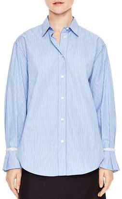 Sandro Sociologie Embellished Cuff Striped Shirt