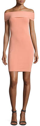 Alexander Wang Off-the-Shoulder Fitted Ponte Dress