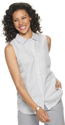 Croft & Barrow Petite Linen-Blend Sleeveless Shirt