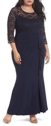 Marina Cascade Lace & Jersey Gown