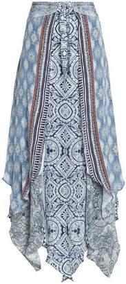 Camilla Fluted Printed Silk Crepe De Chine Maxi Skirt