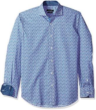 Bugatchi Men's Long Sleeve Tailored Fit Printed Cotton Sport Shirt