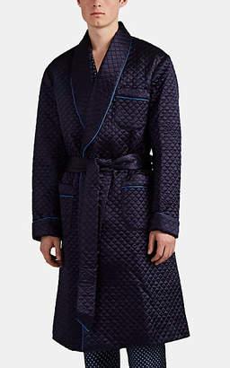 Barneys New York Men's Quilted Satin Robe - Blue