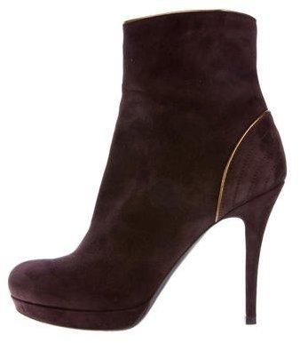 Saint LaurentYves Saint Laurent Suede Round-Toe Ankle Boots