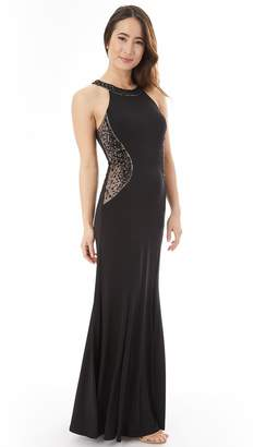 Iz Byer Juniors' Beaded Halter Maxi Prom Dress