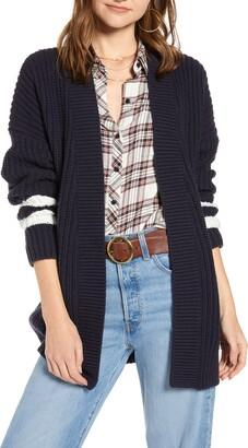 Treasure & Bond Stripe Detail Open Front Cotton & Wool Blend Cardigan
