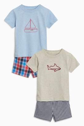 Next Boys Blue Woven Short Pyjamas Two Pack (12mths-8yrs)