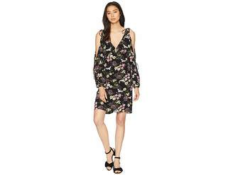 Kensie Black Floral Cranes Dress KS8K8360