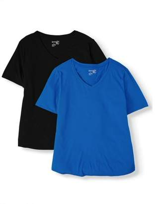Terra & Sky Women's Plus Size Short Sleeve V-Neck Tee Bundle (Black Soot/Medium Grey Heather)