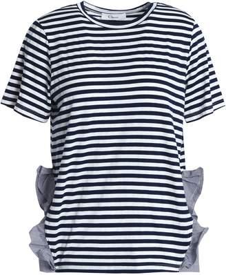 Clu (クルー) - Clu ラッフル付き ポプリントリム ストライプ ジャージー Tシャツ