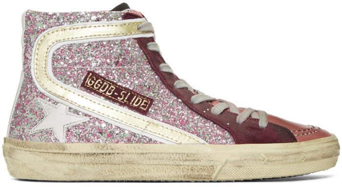 Golden Goose Deluxe Brand Pink Glitter Slide High-Top Sneakers
