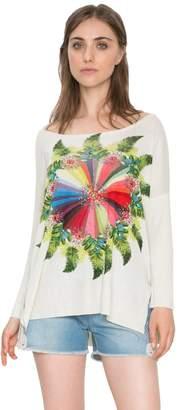 Desigual Women's Off-White Greta Jumper Sweater XL/UK 16