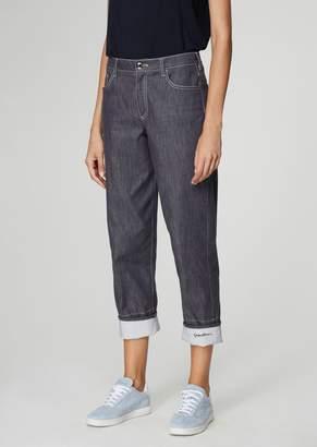 Giorgio Armani Wide-Fit Jeans In Washed Stretch Cotton Denim