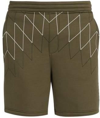 BLACKBARRETT by NEIL BARRETT Mid Rise Line Print Jersey Shorts - Mens - Khaki