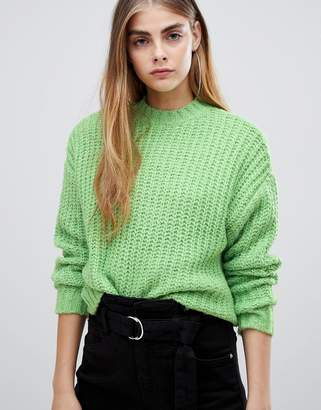 Bershka knitted jumper in green