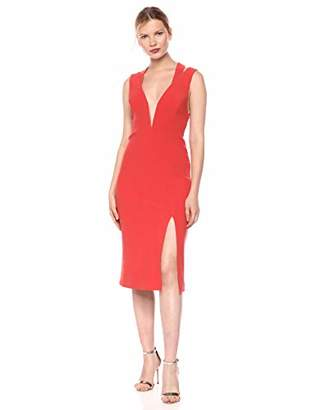 Finders Keepers findersKEEPERS Women's Lines Sleeveless Plunging Stretch Midi Sheath Dress,s