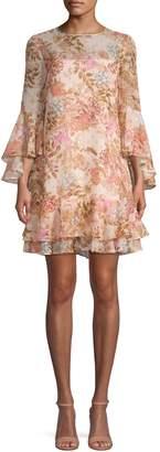 Eliza J Floral Ruffle Tiered Shift Dress