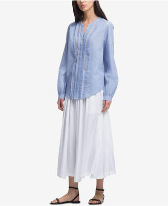 DKNY Pleated Ladder-Trim Shirt, Created for Macy's