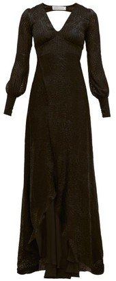 Adriana Iglesias Bellagio Leopard Devore Chiffon Gown - Womens - Black