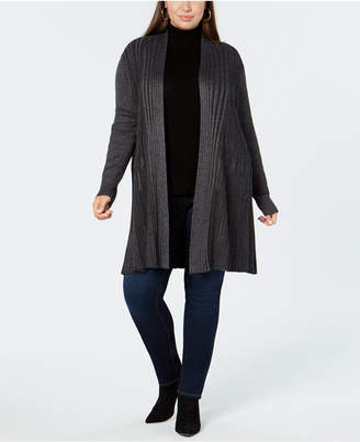 NY Collection Plus Size Open-Front Ribbed-Knit Cardigan