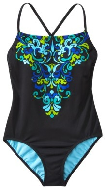 Merona® Womens 1-Piece X Back Swimsuit - Black/Blue/Green Print