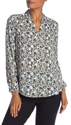 Adrianna Papell Patterned V-Neck Long Sleeve Blouse
