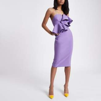 River Island Womens Purple peplum waist bodycon dress