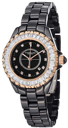 Stuhrling Original Black Ceramic Case on Link Bracelet Swarovski Crystal Studded Bezel Watch