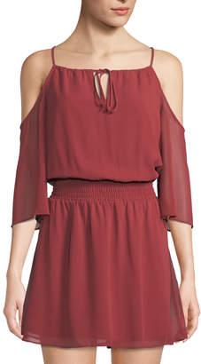 BCBGeneration Cold-Shoulder Smocked-Waist Mini Dress