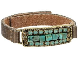 Leather Rock Laurel Bracelet
