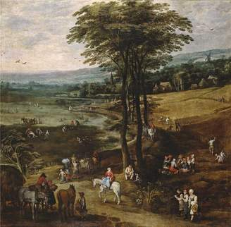 3.1 Phillip Lim Oil Paintings Canvas Prints high quality polyster Canvas ,the High quality Art Decorative Canvas Prints of oil painting 'Momper Joos de II Brueghel the Elder Jan La vida en el campo 1620 22 ', 30 x inch / 76 x 78 cm is best for Garage gallery art and Home decor and Gifts