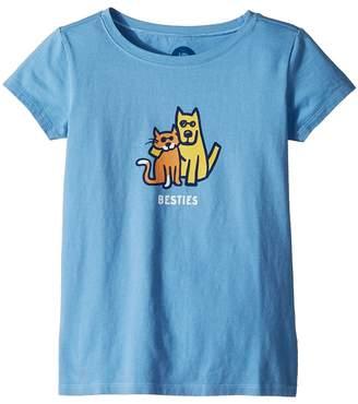 Life is Good Besties Rocket and Cat Crusher Tee Girl's T Shirt