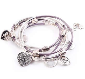 72945416fd4d0b Francesca Rossi Designs Silver Noodle Wrap Leather Charm Bracelet