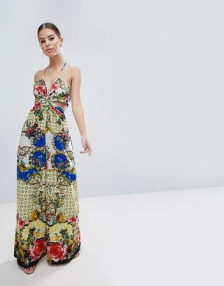 6ad80741675 Asos Design DESIGN jumpsuit with twist front in floral tile print