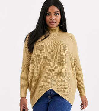 Simply Be high neck ribbed jumper in camel