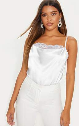 PrettyLittleThing Silver Lace Trim Cowl Satin Cami Top