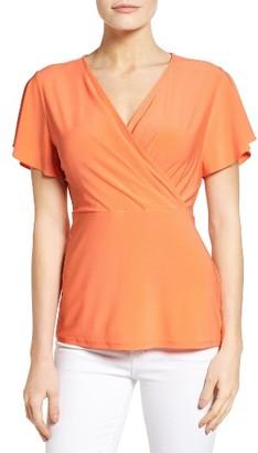 Women's Chaus Flutter Sleeve Surplice Top $59 thestylecure.com