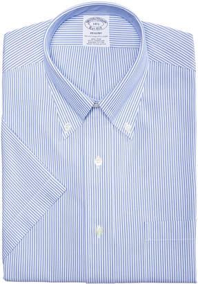 Brooks Brothers Men's Regent Slim-Fit Non-Iron Polo Button Down Blue Stripe Short Sleeve Dress Shirt