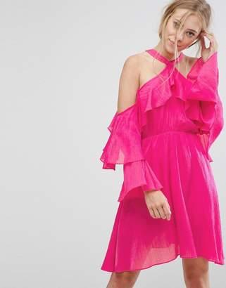 Pearl Ruffle Halter Dress