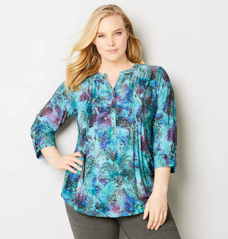 Avenue Floral Animal Jacquard Pleated Top