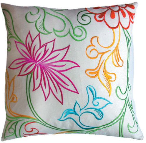 Koko - Pollen 18x18 Flower Embroidered Pillow