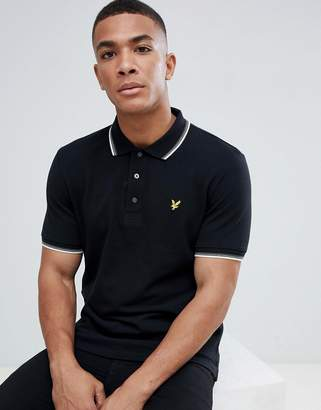 Lyle & Scott tipped logo polo shirt in black