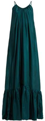 BRIGITTE Kalita Silk Habotai Maxi Dress - Womens - Dark Green