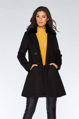 Quiz Camel Faux Fur Collar Button Front Coat